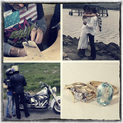 Jesa and Al getting married on a beach in Scotland with a Harley Davidson.