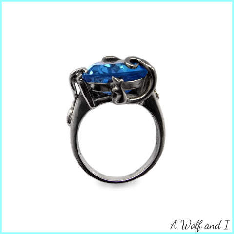 Blue Topaz White Gold Mouse Ring