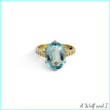 18ct Yellow Gold Blue Topaz Engagement Ring