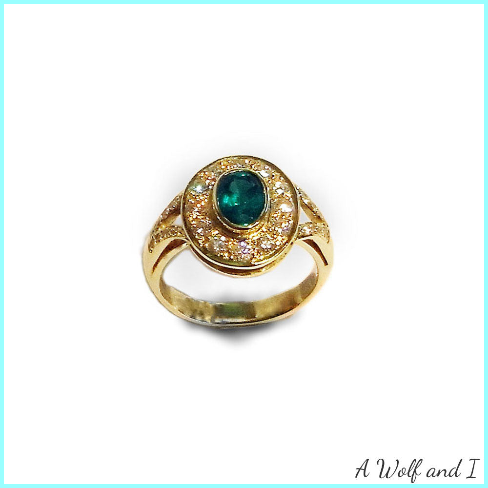 Diamond Emerald Gold Engagement Ring