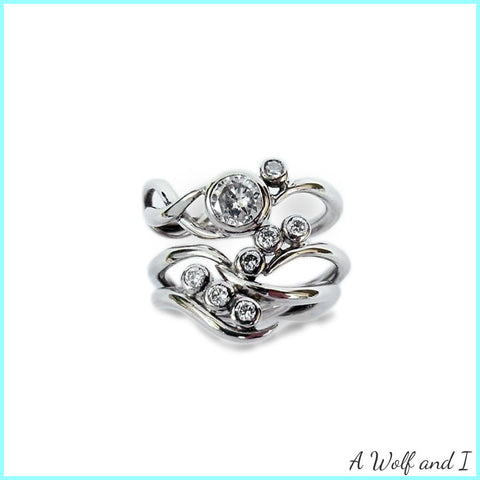 Diamond White Gold Engagement and Wedding Rings