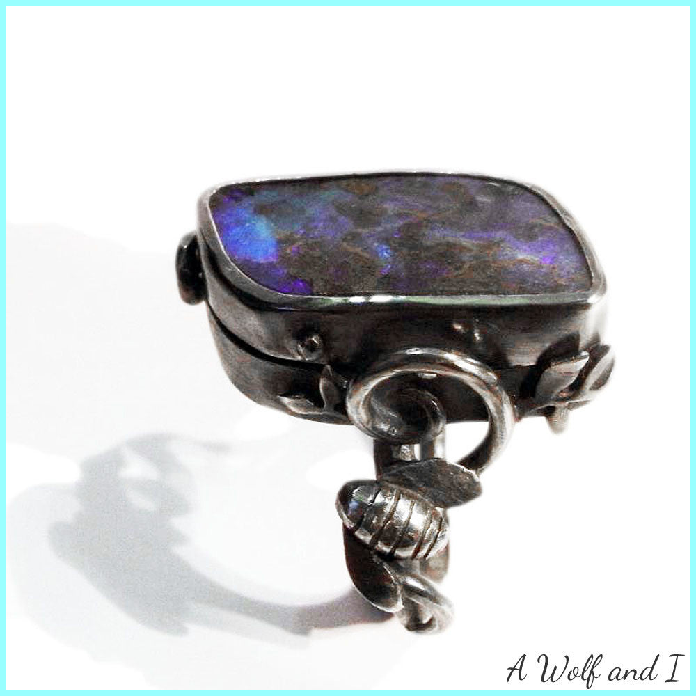 Opal locket rings with the birds and the bees