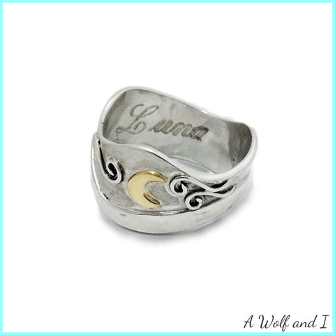 Sterling Silver 'Luna' Ring with Gold Moon