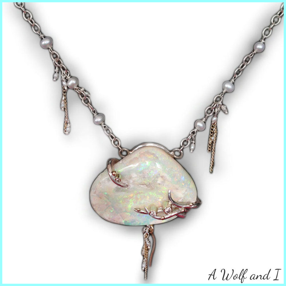 Opal Diamond and Pearl Pendant