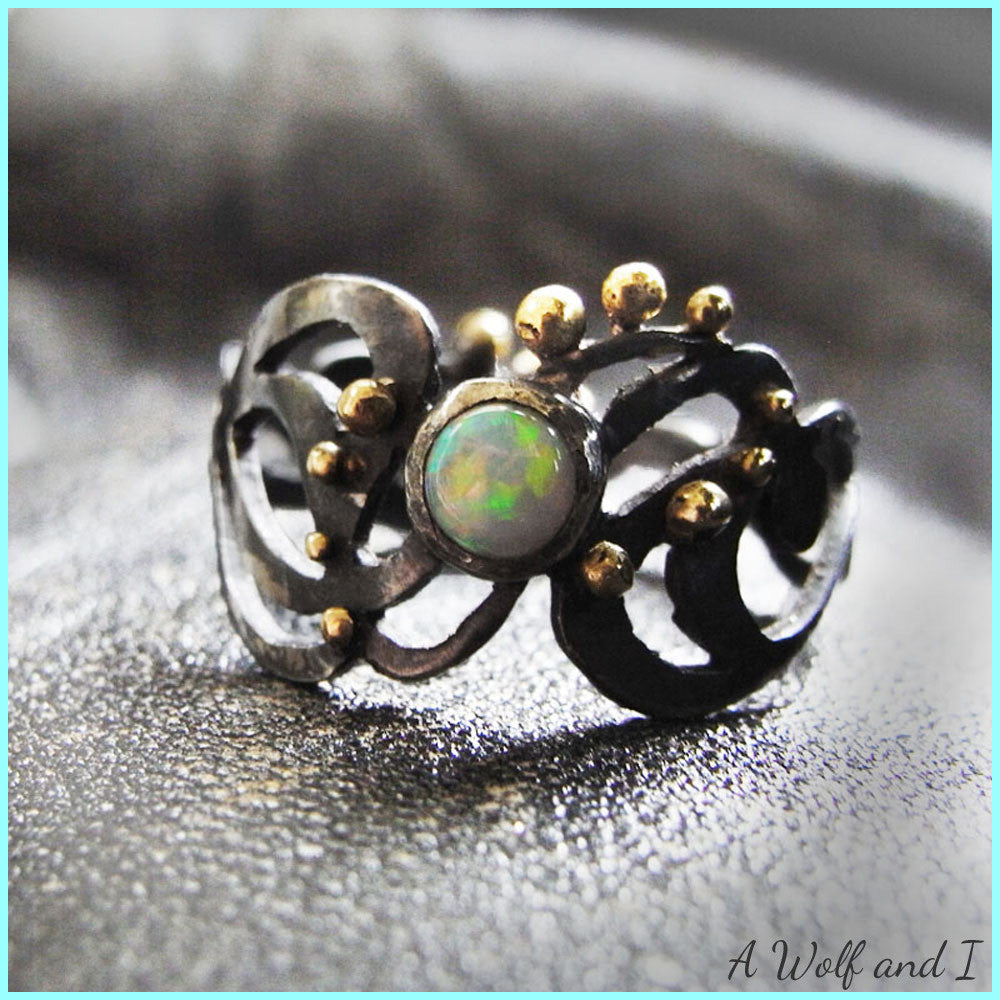 Sterling Silver Gold Opal Ring, Oxidised