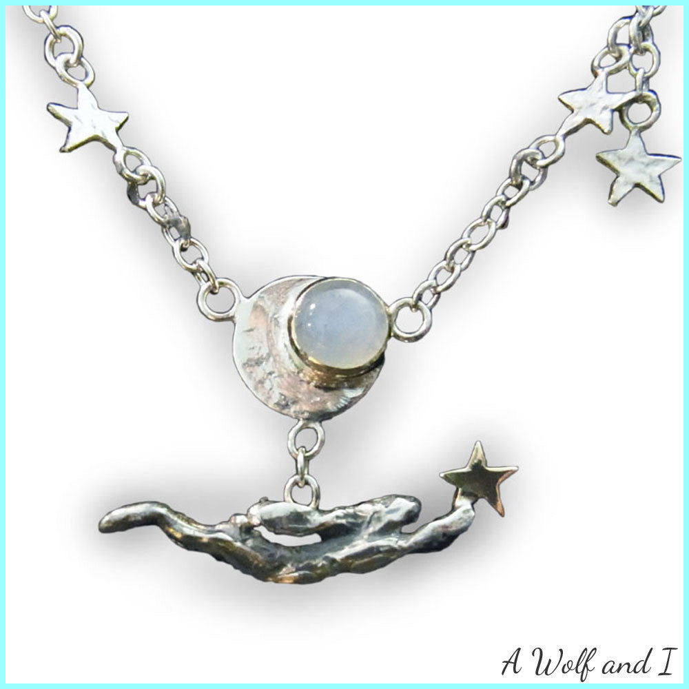 Running Hare Moonstone Necklace