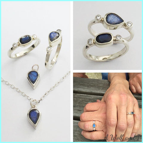 Labradorite, sapphire and diamond wedding rings and pendant