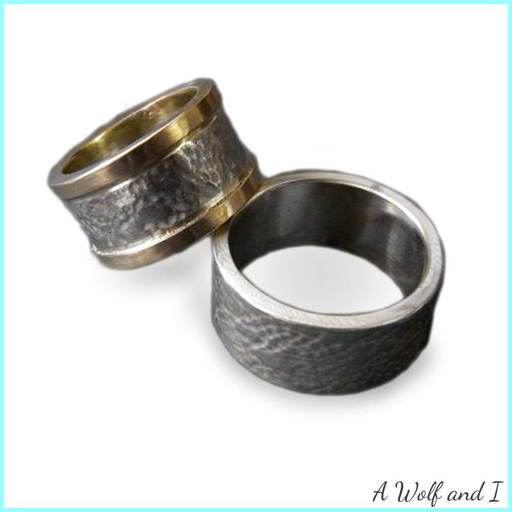 Textured White Gold Wedding rings