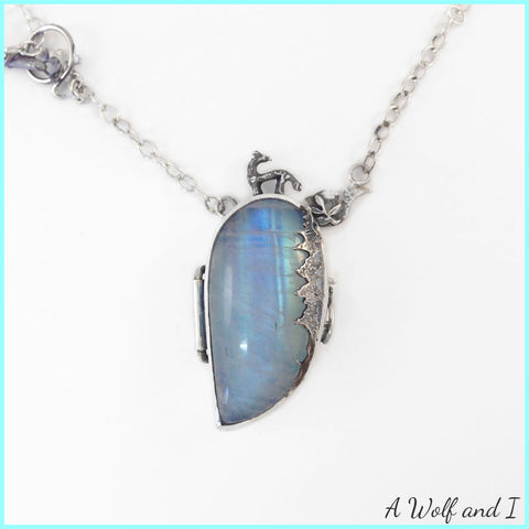 Moonstone Wolf Locket Pendant