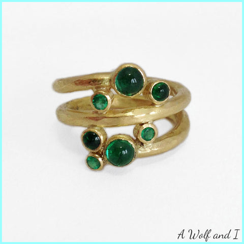 18ct yellow gold and Emerald ring