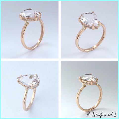 Morganite, diamond and rose gold engagement ring.