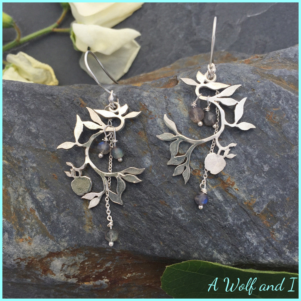 Sterling Silver Apple Tree Earrings with a little Apple and Labradorite
