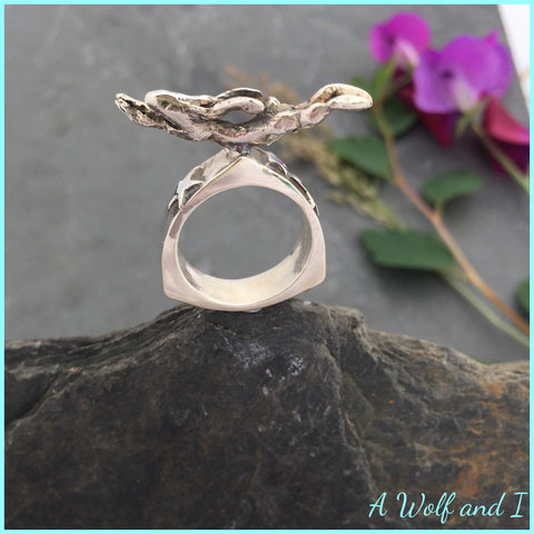 'Archie' Enchanted Silver Running Hare Ring