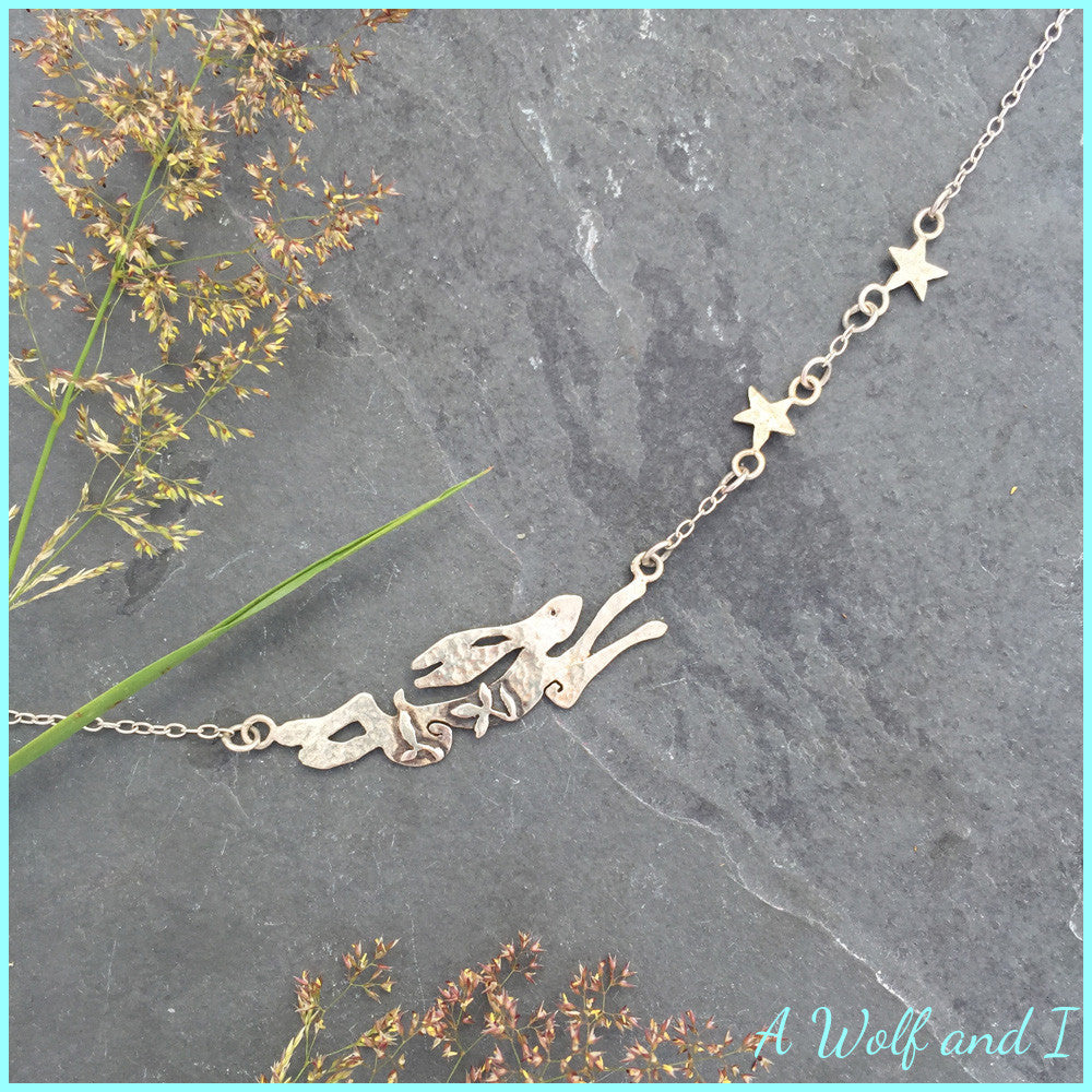 161c86a2c Archie' Sterling silver running hare necklace. – A Wolf and I