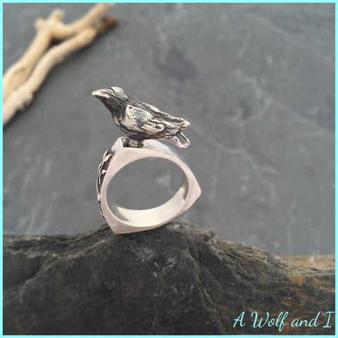 Sterling Silver 'Edgar' Raven Ring