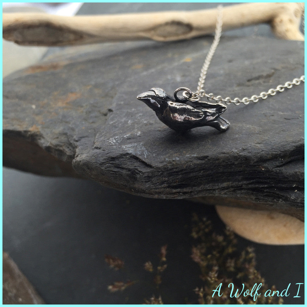 Sterling Silver Raven 'Edgar' Necklace