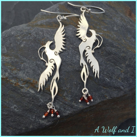 Sterling Silver Firebird Earrings with Carnelian