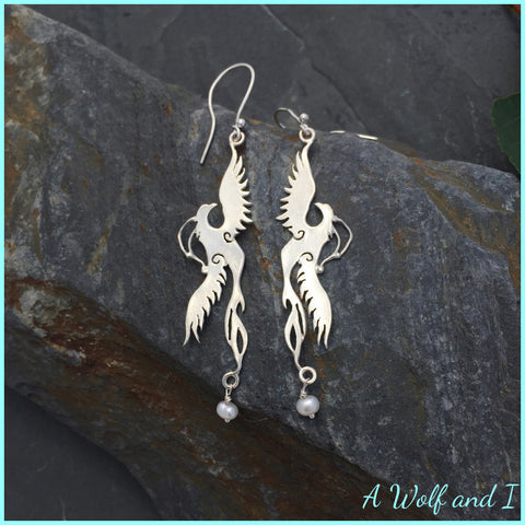 Sterling Silver Firebird Earrings with Pearls
