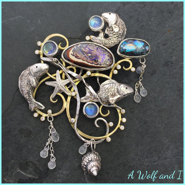 Fish and Opals brooch