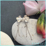 Sterling Silver Rose Earrings with Pearls