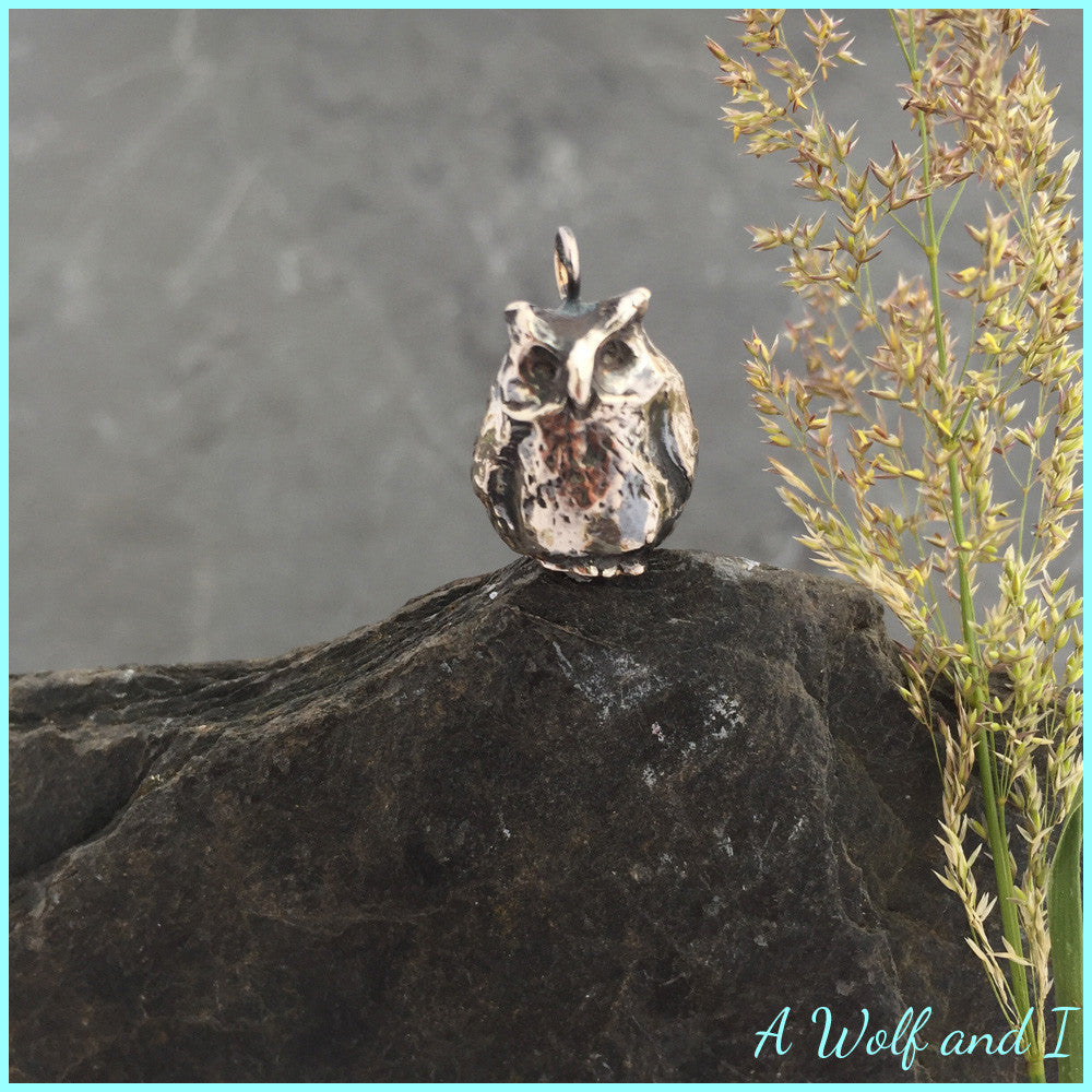 Sterling silver owl pendant frank owl charm a wolf and i sterling silver owl pendant frank owl charm mozeypictures Image collections