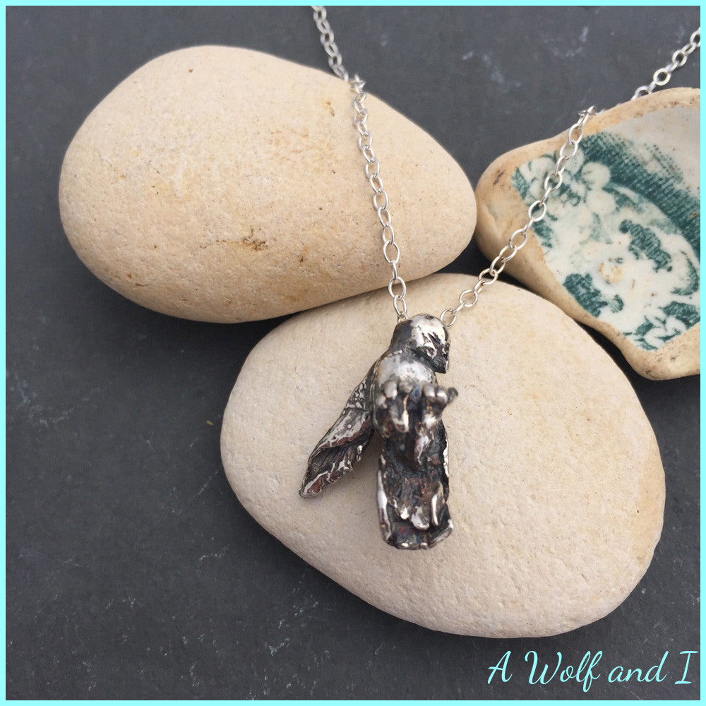 Sterling Silver Little 'Sleeping' Bird 'Jose' on a chain
