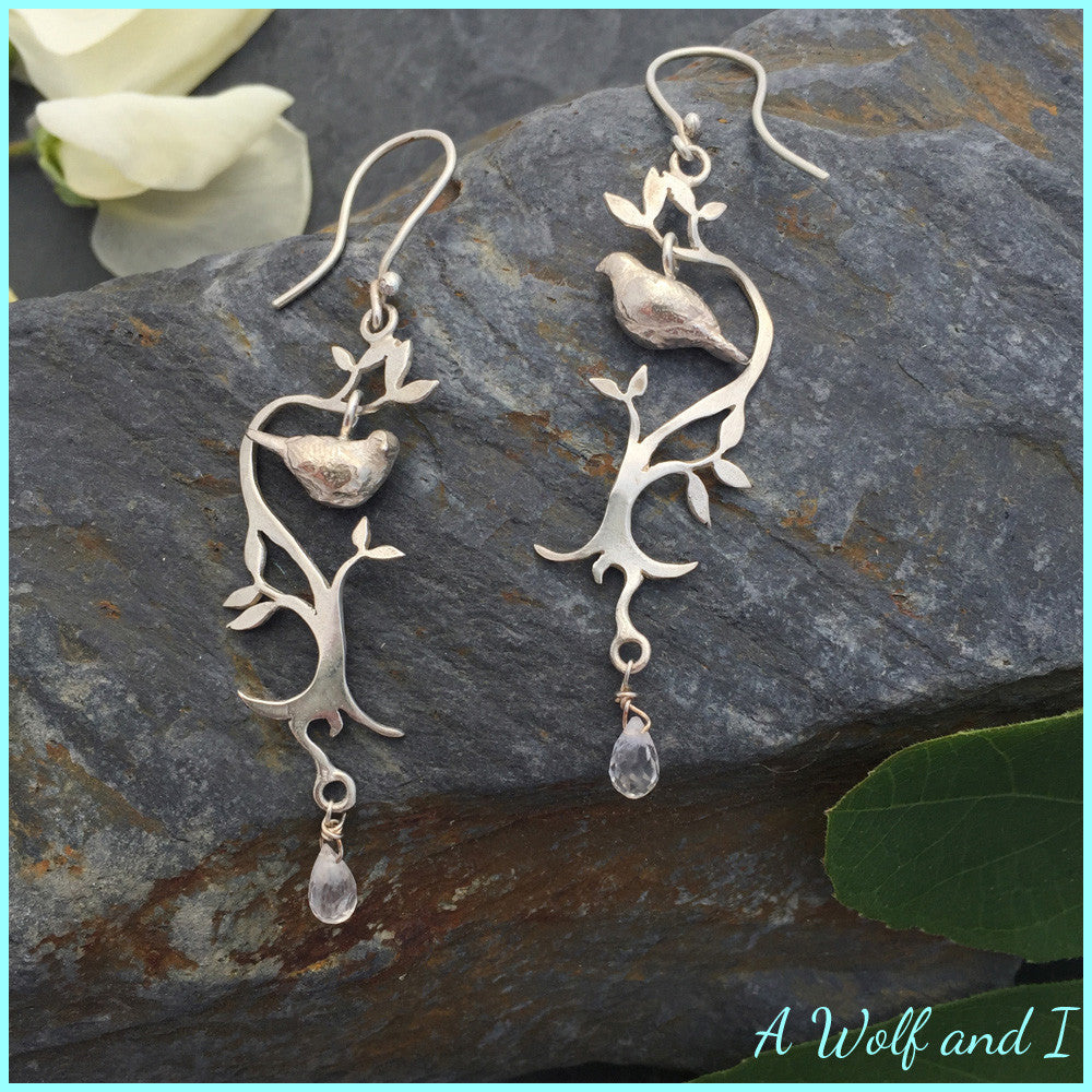 Sterling Silver Love Dove Earrings with Moonstone beads.