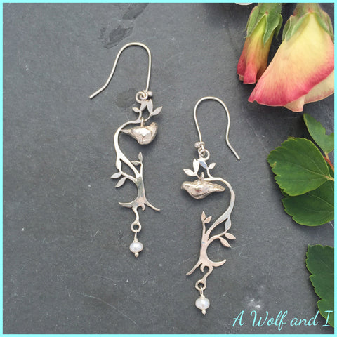 Sterling Silver Love Dove Earrings with Pearls