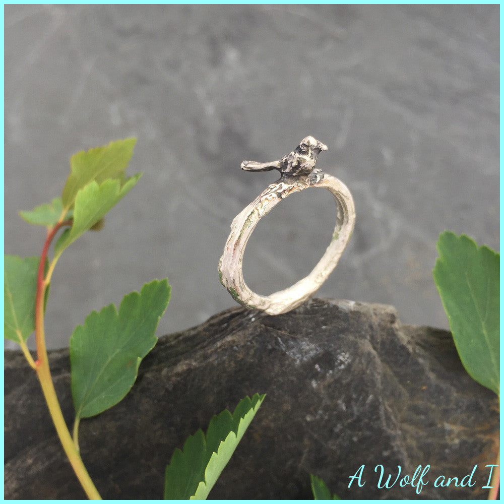 Relatively Sterling Silver 'Pete' Little Bird Twig Ring – A Wolf and I NT12