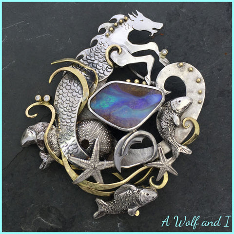 Seahorse Brooch with Opals and Diamonds