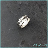 Silver and Slate wedding ring