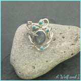 Star Sapphire and Starfish ring