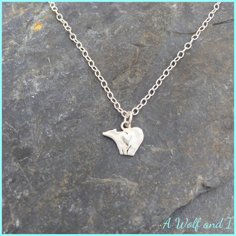 Tiny Sterling Silver Love Bear Necklace