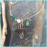 'Ethan' Sterling Silver Wild Wolf Necklace with Turquoise.