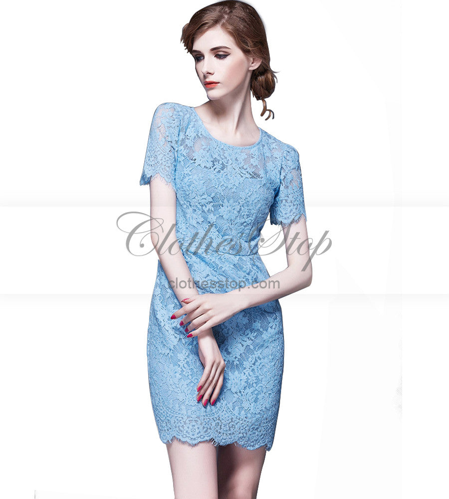 Sexy Light Blue Lace Mini Dress With Short Sleeves