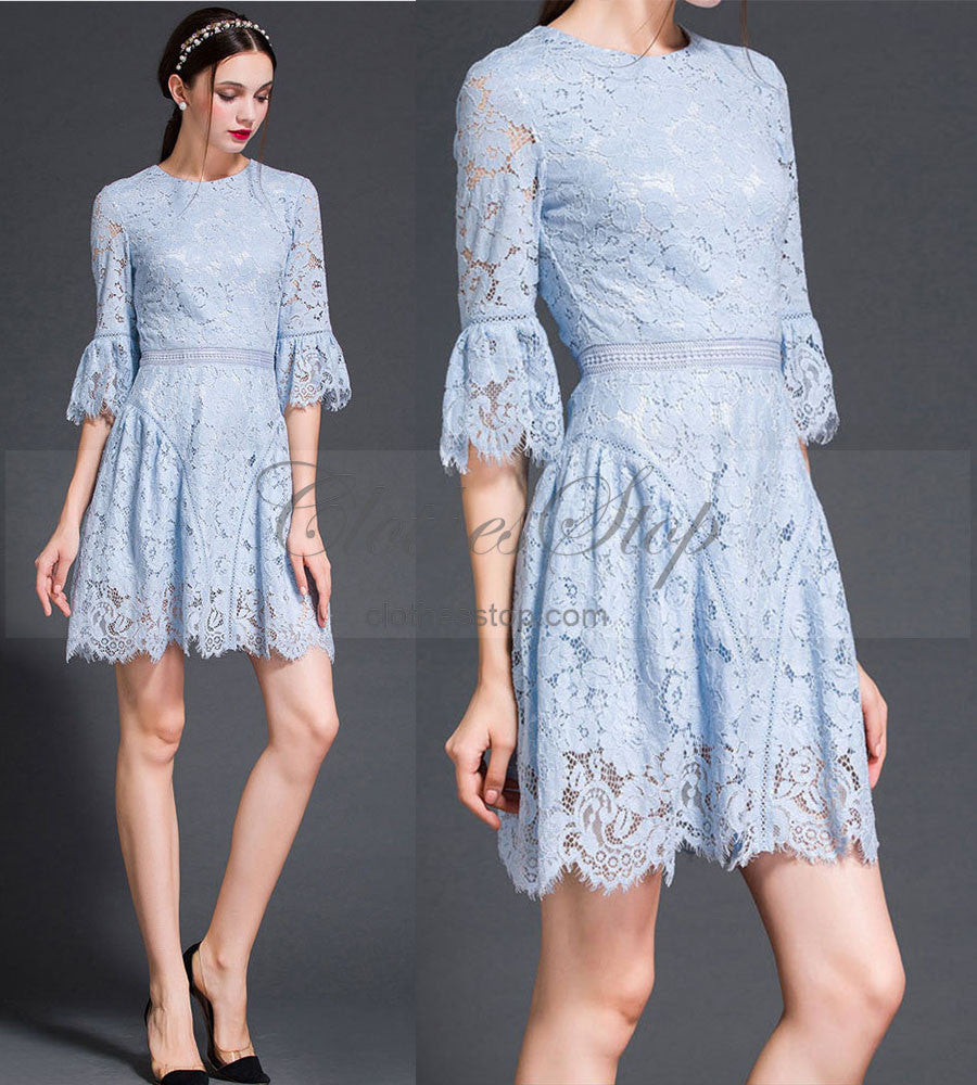 Light Blue Lace Dress In Princess Style Vintage Style