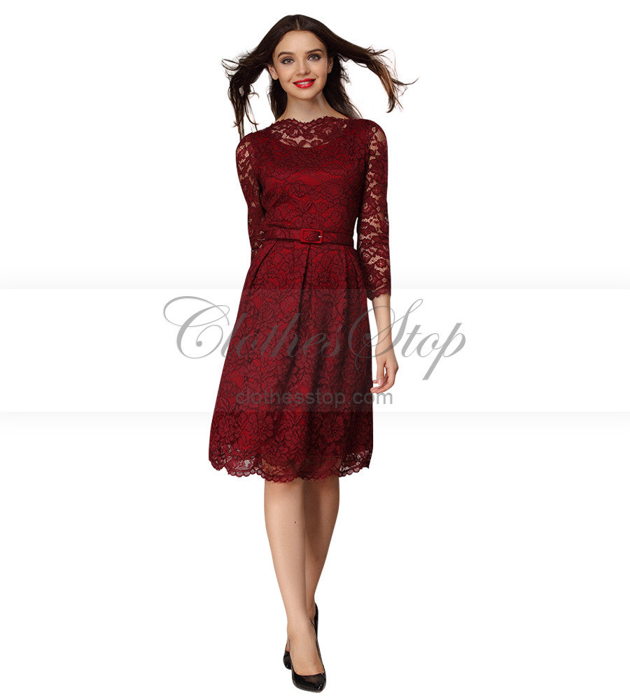 lace red knee length dress