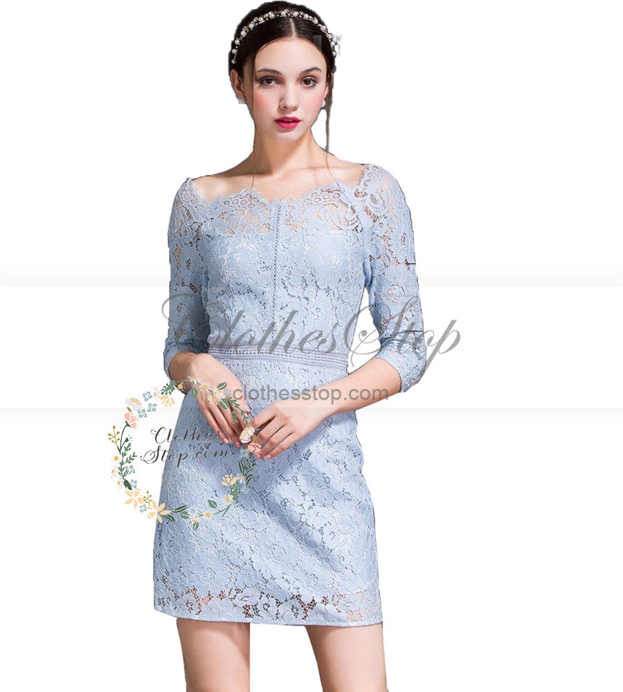 620df71a70 Blue Lace Sheath Dress with Sabrina Neckline Vintage Style