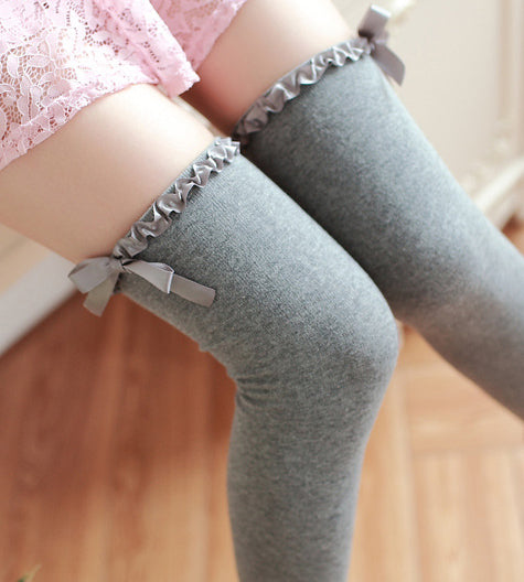 737f72ed0 Over The Knee Socks with Ribbon Grey