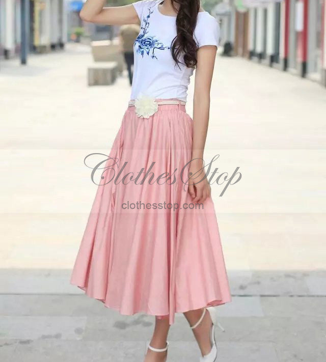 3ae7af81fc Pink Flax Linen Skirt Maxi Style