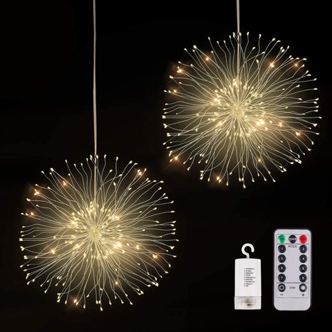120 LED Starburst Battery Operated Hanging Light w/remote - Warm White (2 Pack)