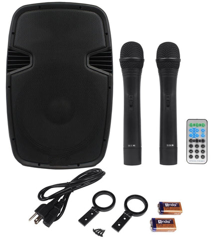 Acoustic Audio 4312Tn 12 800 Watt Portable Rechargeable Pa System W/ 2 Built-In Dual Vhf Wireless