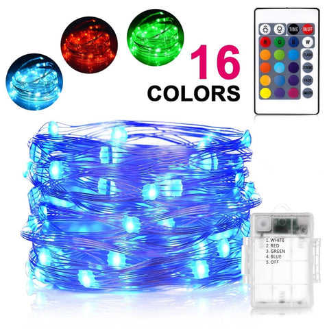 16 Colour Changeable 50 Led Battery Powered Fairy String Light With Remote Control Lighting
