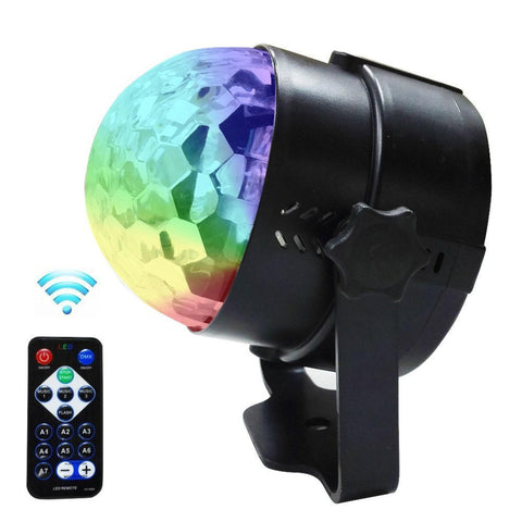 3W Rgb Mini 7 Colour Changing Rotating Magic Crystal Ball - Sound Activated With Remote Dj Lighting
