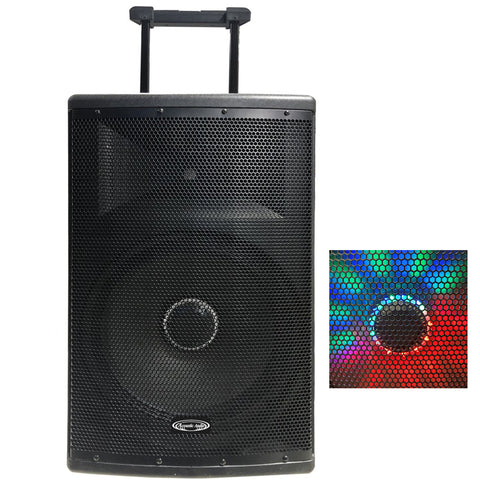 "Acoustic Audio 87-4515 TWS 15"" 1000w Rechargeable Powered Speaker w/ 2 Wireless Microphones"