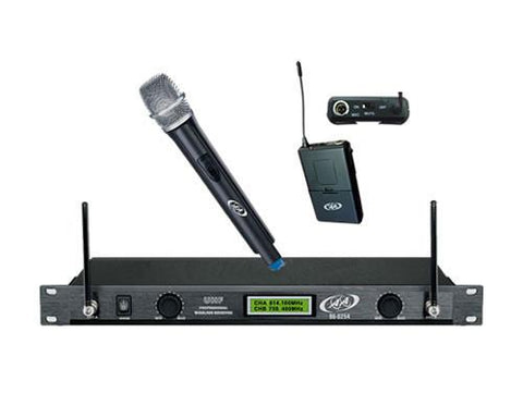 Uhf Microphone System 1 Handheld + Lapel Mic. From Island Acoustic Audio Model: 96-0254C
