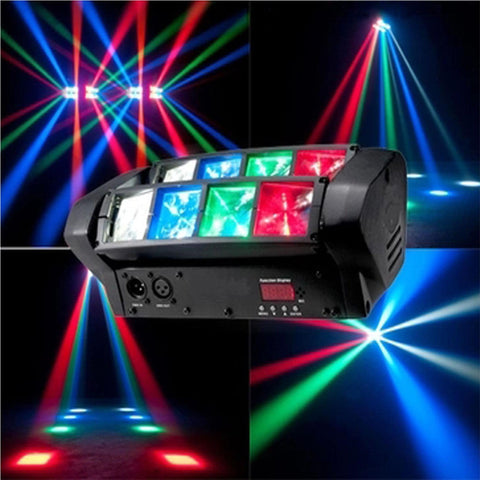 Spider 8 X 6W Led Rgbw Moving Head Effect Spot Beam Light Dmx512 Dj Lighting