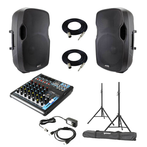 Gemini As-12P And The Pyle Pmxu63Bt Cables Package - With Optional Stands Powered Speaker
