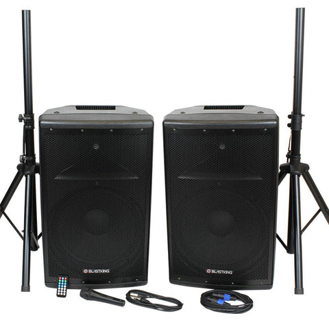 BLASTKING BDT15CMB2 15-inch 1000 Watt Active and Passive System w/ Mic and Stands