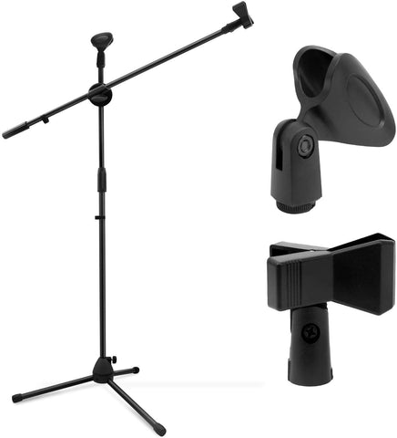 BM4 Microphone Stand, Tripod Boom Mic Stands with 2 Mic Clip Holders, Adjustable, Collapsible, Black